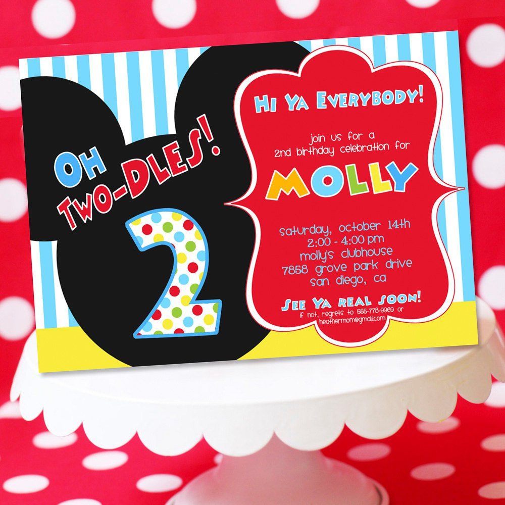 Oh Toodles Mickey Mouse Invitations