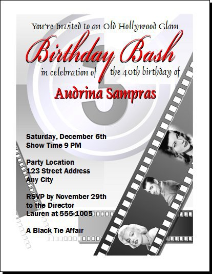 Doc Hollywood Birthday Party Invitations Old Hollywood Art – Hollywood Themed Birthday Invitations