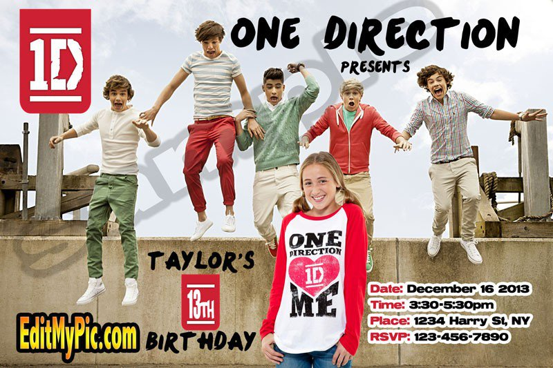 One Direction Custom Party Invitations