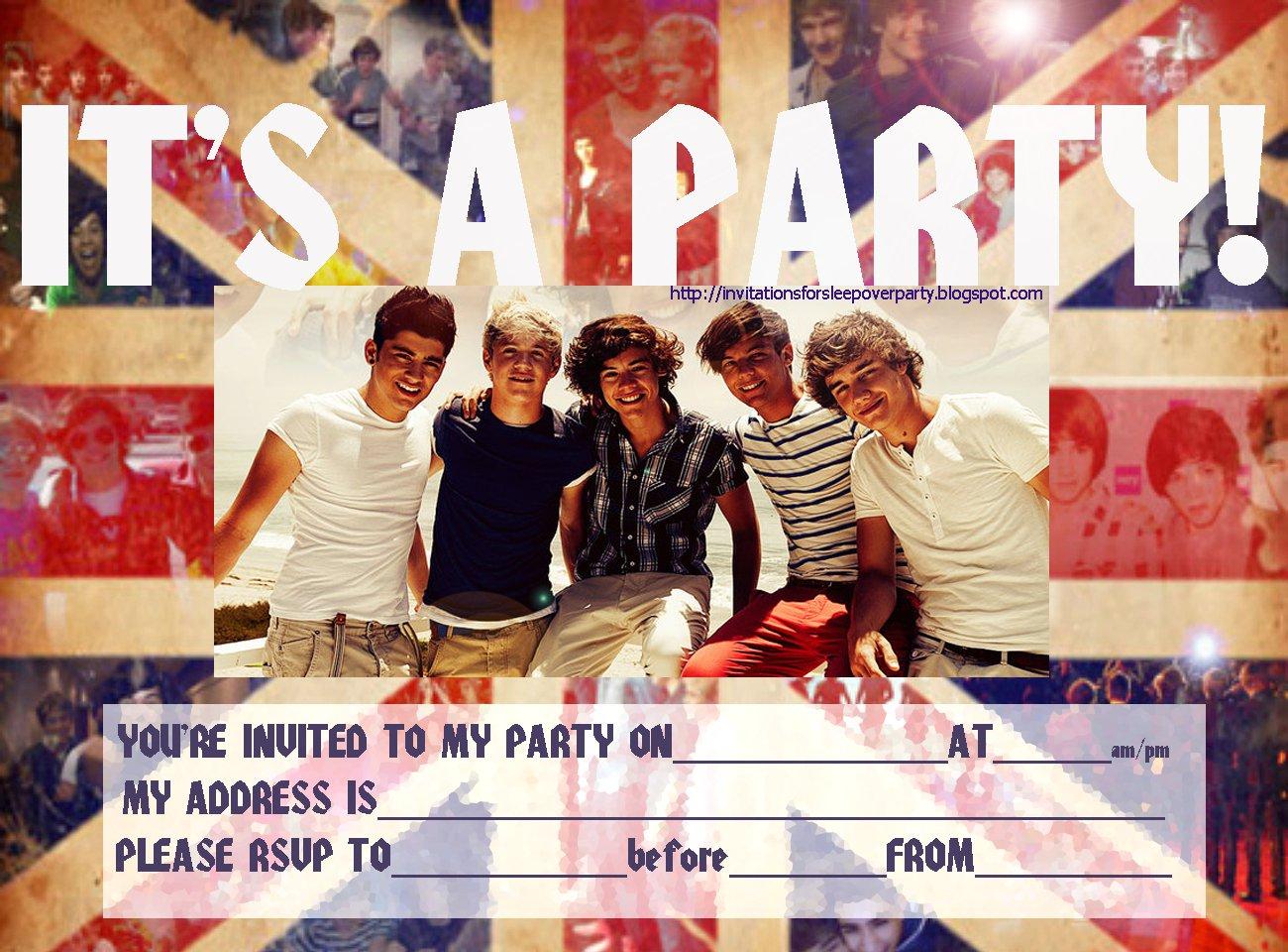 One Direction Printable Birthday Invitations