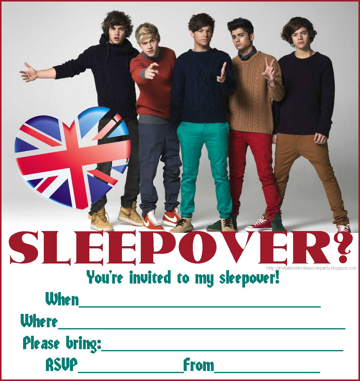 One Direction Sleep Over Invitations