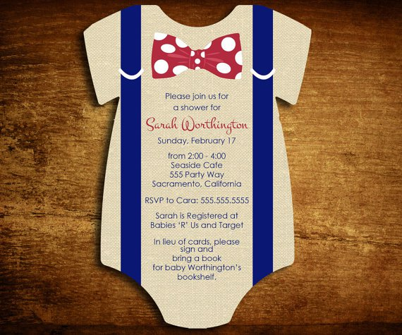 onesie baby shower invitations for baby boy