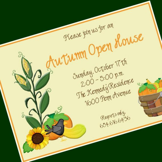 Open House Invitations Printable Fall