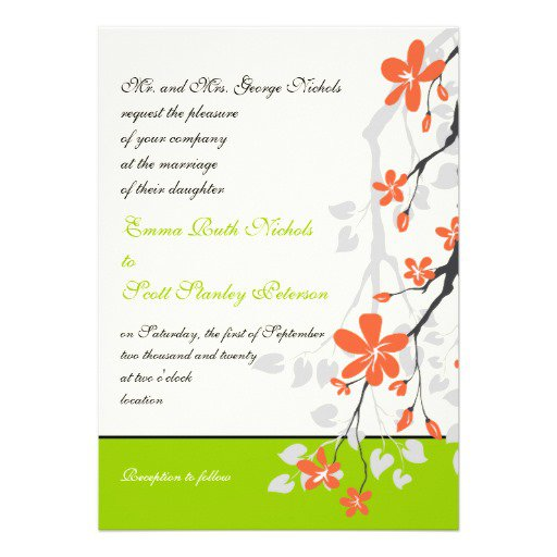 Orange Black And White Wedding Invitations
