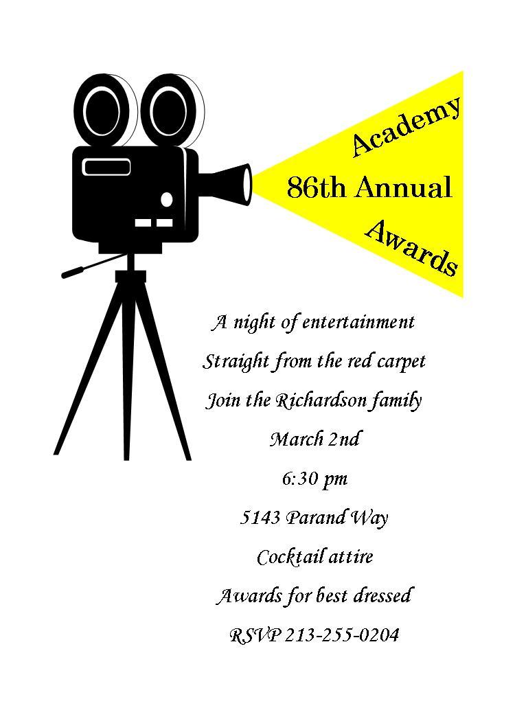 Oscar Awards Invitation Cards