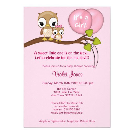 Owl Baby Shower Invitations For Girl