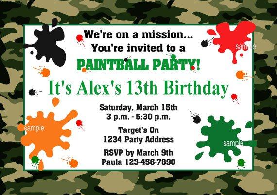 Paintball Invitation Wording Sample