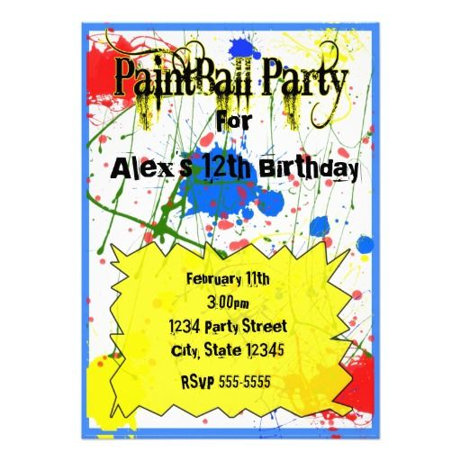 Paintball Party Invitations For Boys