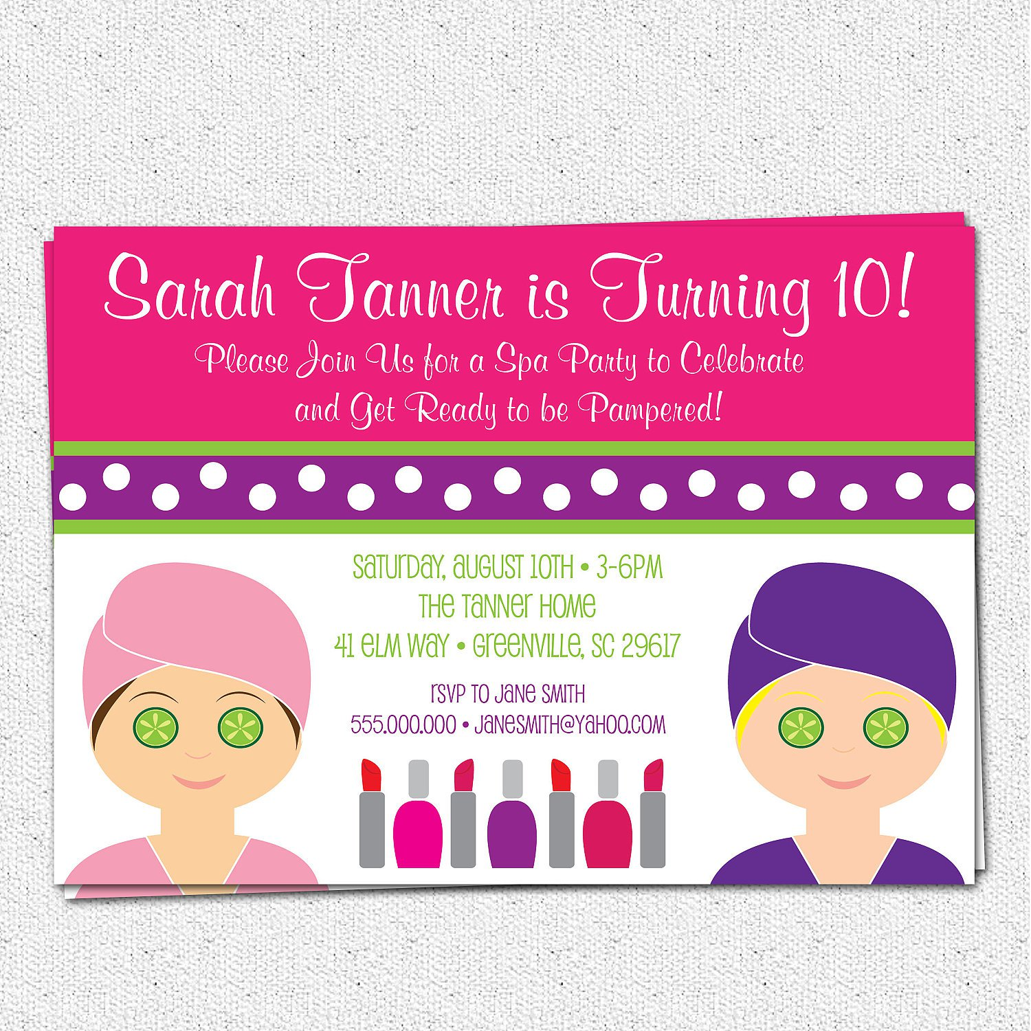 Pamper Party Invitations Free Printables