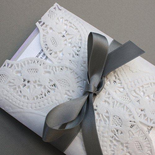 Paper Doily Wedding Dress Invitation
