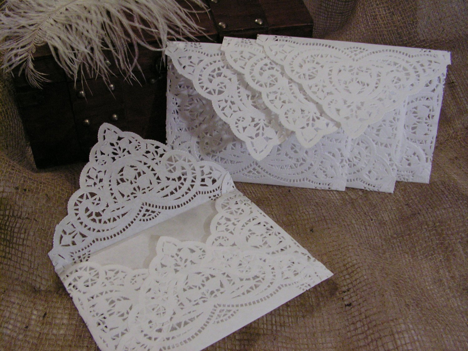 paper doily wedding invitations
