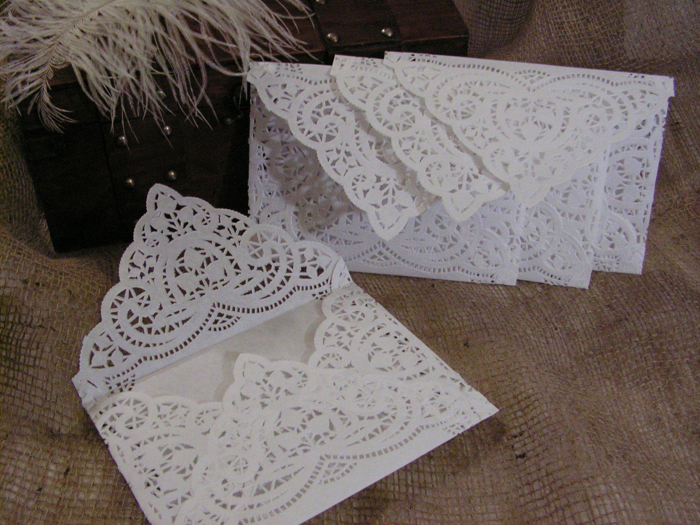 Paper Doily Wedding Invitation Envelopes