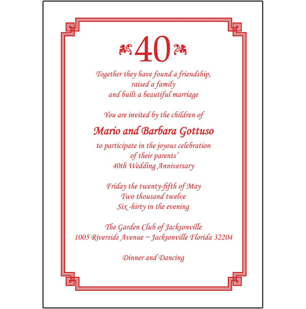 Party Invitations 40th