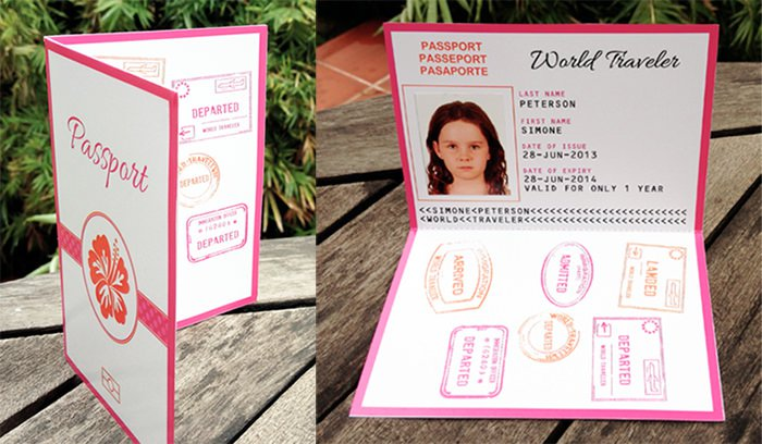 Passport Birthday Invitation Templates