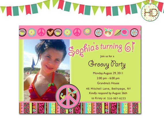 Peace And Love Birthday Party Invitations