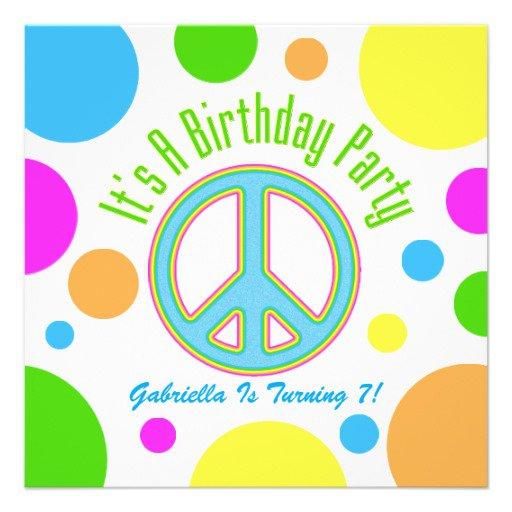 Peace Birthday Party Invitation