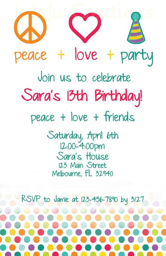 Peace Birthday Party Invitations