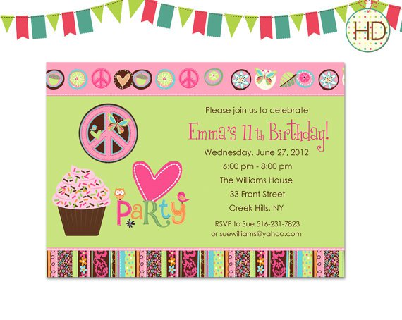 Peace Sign Birthday Party Invitations