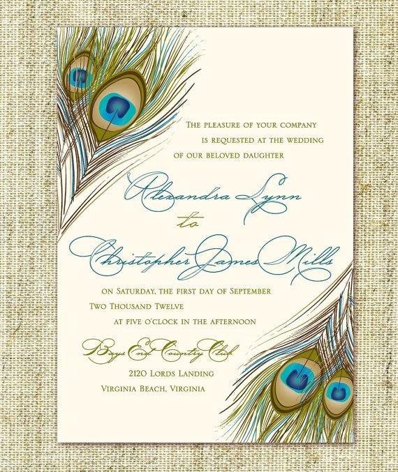 Peacock Feather Wedding Invitations Etsy