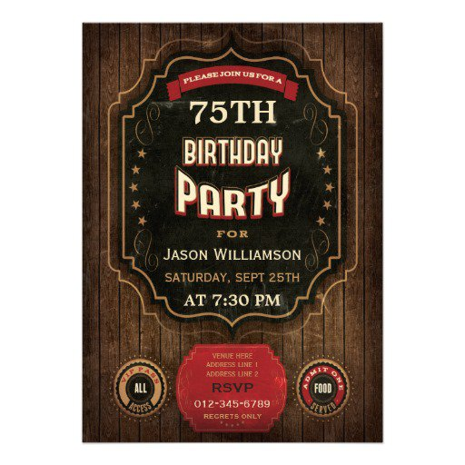 Personalized 75th Birthday Invitations