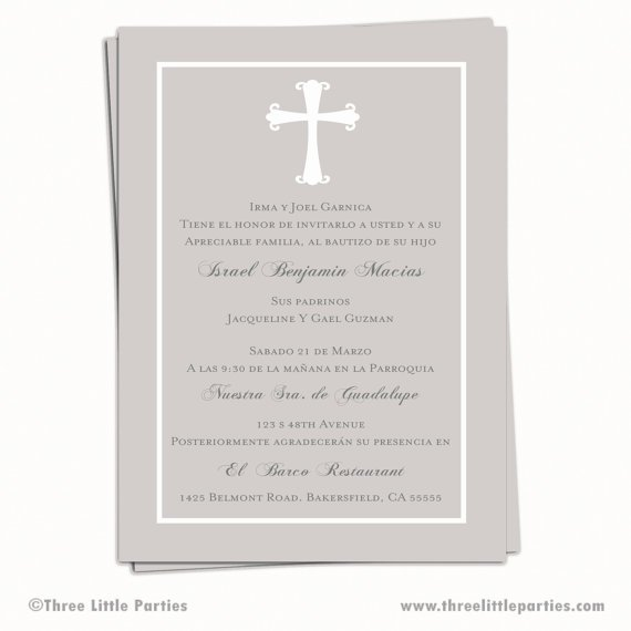 Personalized Baptism Invitations In Spanish