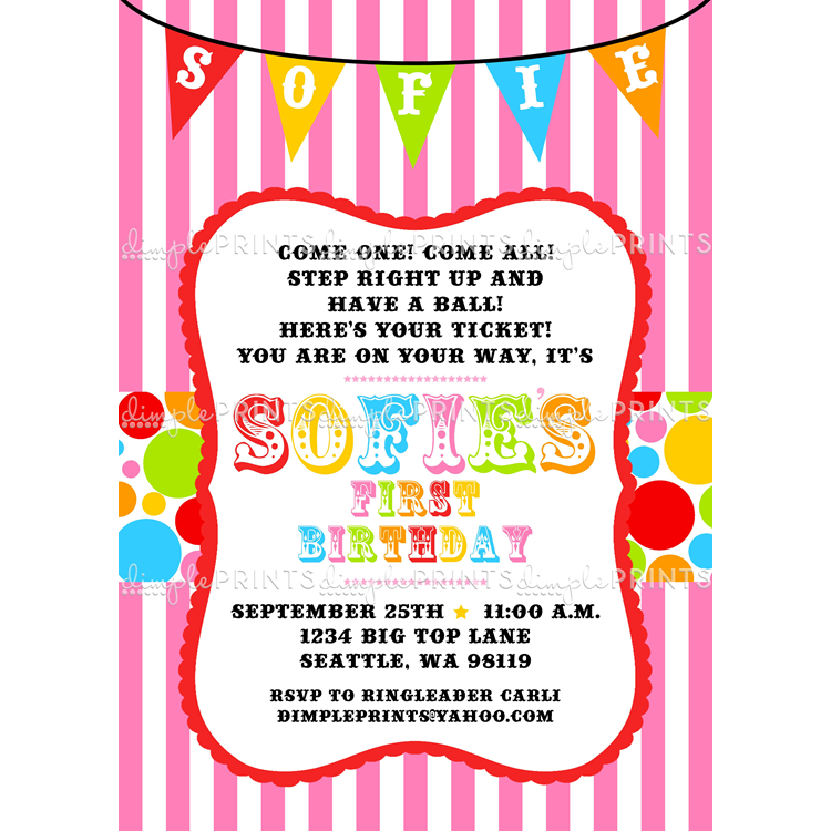 Personalized Circus Birthday Invitations