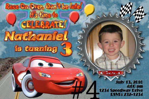 Personalized Disney Cars Party Invitations