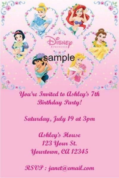 Personalized Disney Princess Birthday Invitations