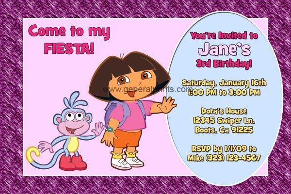 Personalized Dora Invitations Free