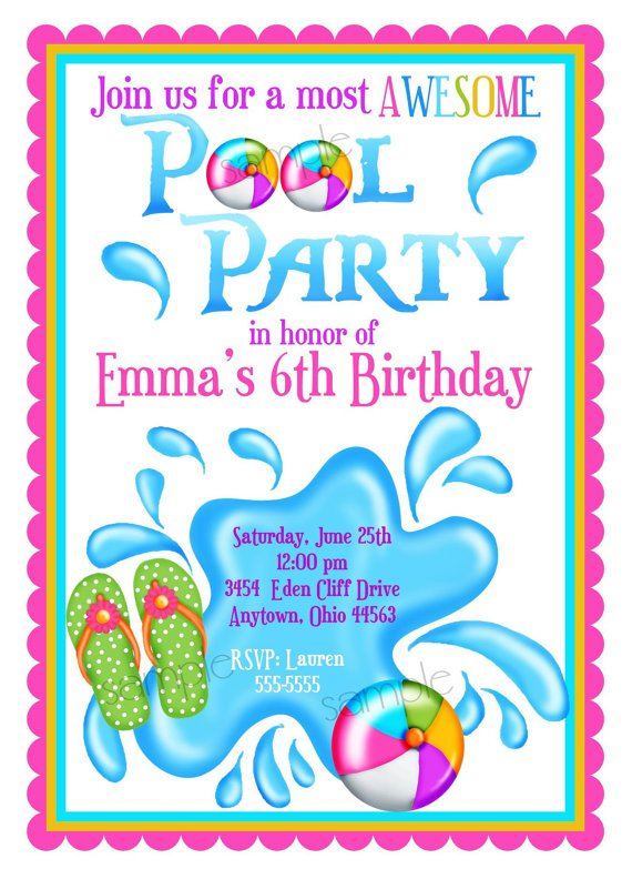 Personalized Girls Pool Party Invitations