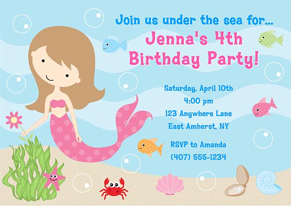 Personalized Mermaid Birthday Invitations Templates