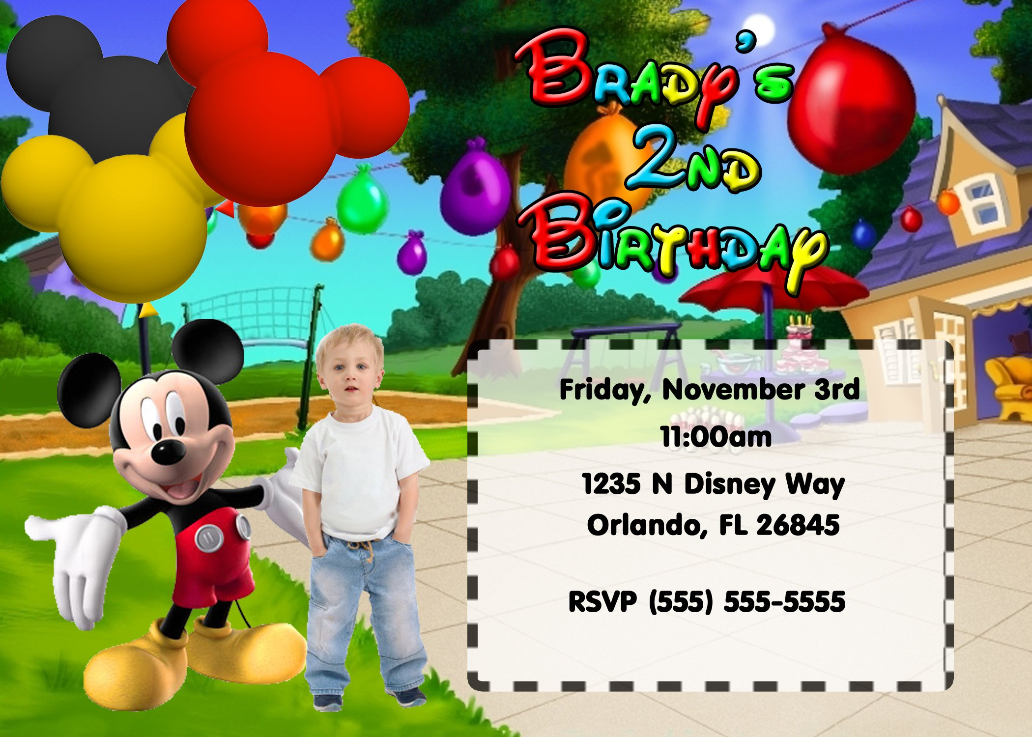 Custom Mickey Mouse Clubhouse Invitations – Mickey Mouse First Birthday Party Invitations