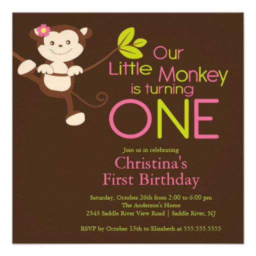 Personalized Monkey First Birthday Invitations