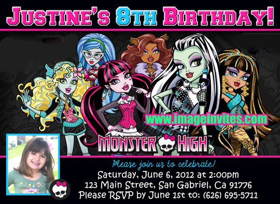 Personalized Monster High Birthday Invitations