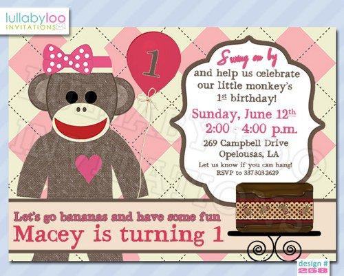 Personalized Sock Monkey Birthday Invitations