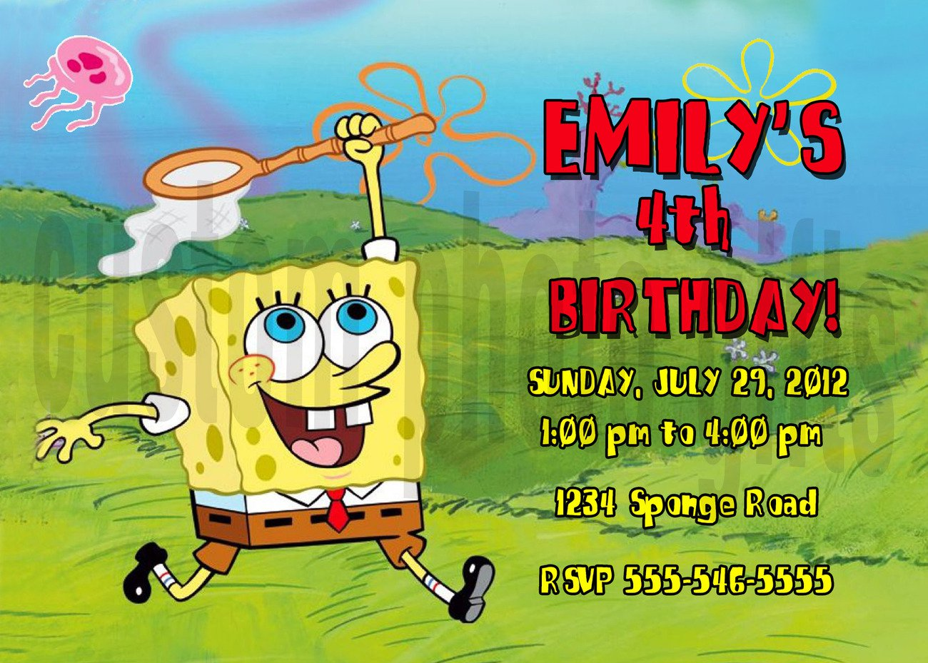 Personalized Spongebob Invitations Birthday