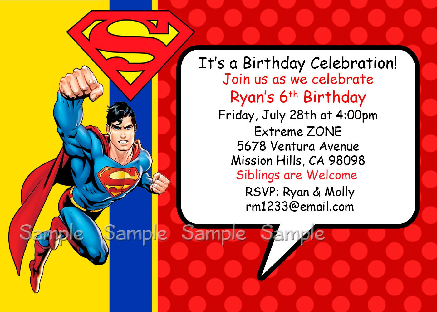 Personalized Superman Birthday Invitations