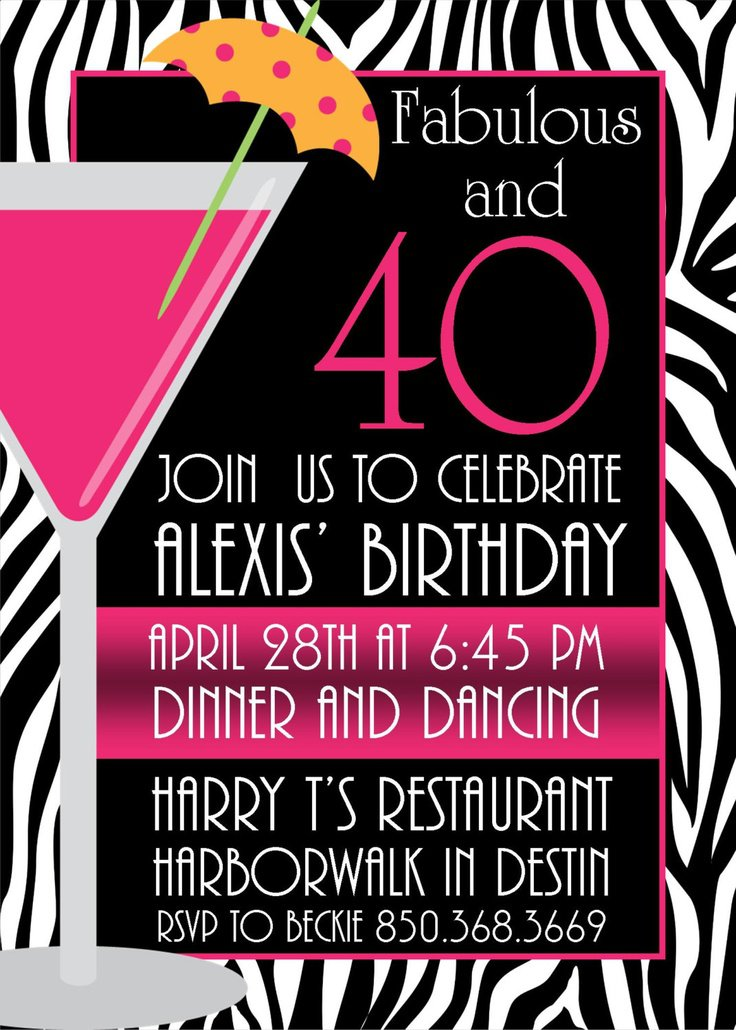 Pink & Black Zebra Birthday Party Invitation