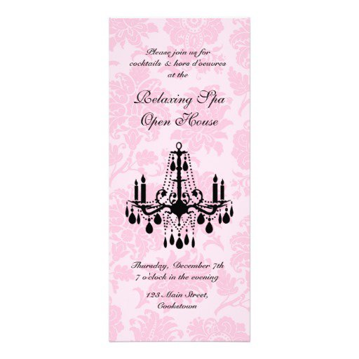 Pink And Black Damask Invitations