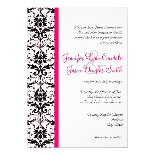 Pink And Black Damask Wedding Invitations