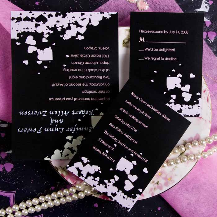 Pink And Black Wedding Invitations Kits