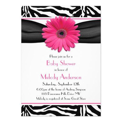 Pink And Black Zebra Print Baby Shower Invitations