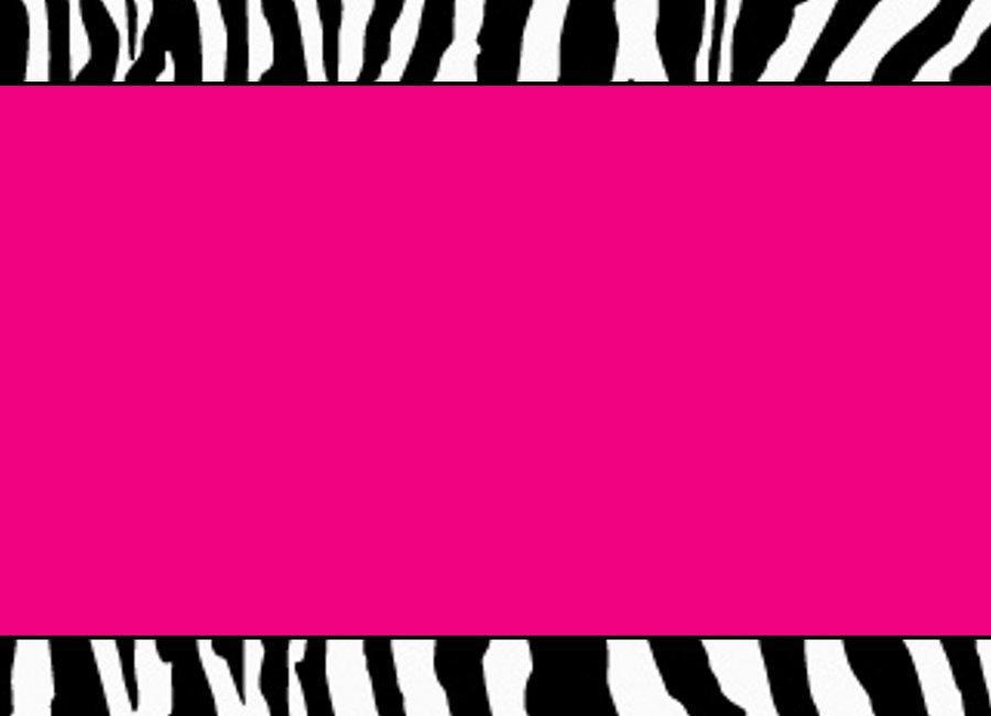 Pink And Black Zebra Print Invitation
