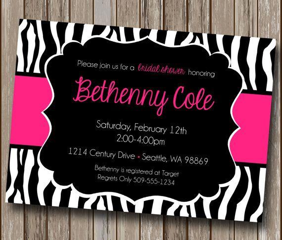 Pink And Black Zebra Print Invitations