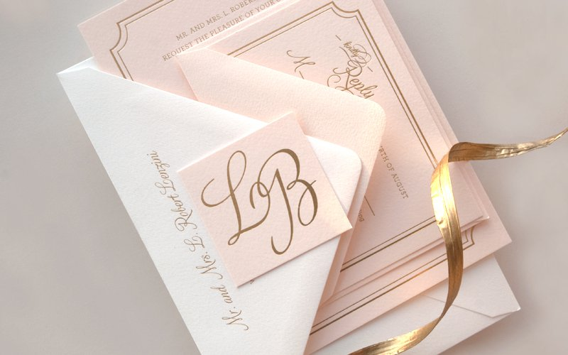 Pink And Champagne Wedding Invitations