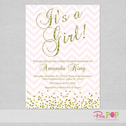 Pink And Gold Glitter Birthday Invitations