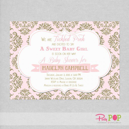 Pink And Gold Graduation Invitations