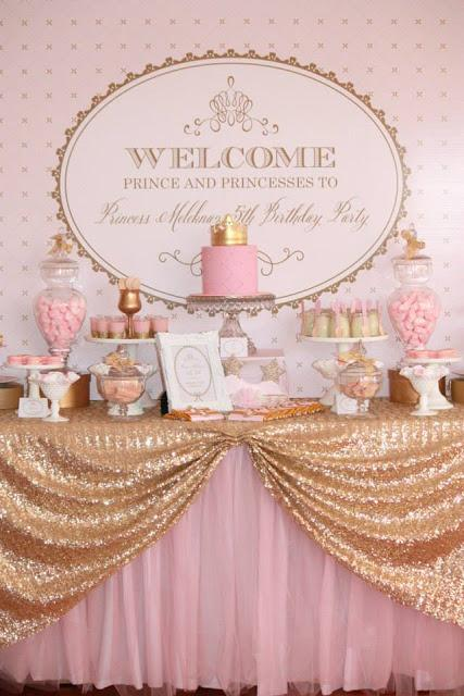 Pink And Gold Princess Birthday Party Invitations