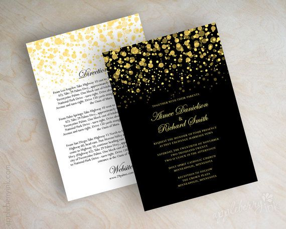Pink And Gold Wedding Invitations Etsy