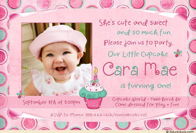 Pink And Green Polka Dot First Birthday Invitations